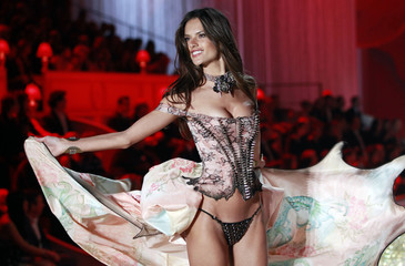 Model Alessandra Ambrosio presents a creation during the Victoria's Secret Fashion Show in New York