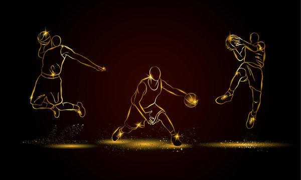 Basketball players set. Golden linear basketball player illustration for sport banner, background and flyer.
