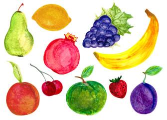 Watercolor fruits set. Hand drawn Illustration of green apple, lemon, black grape, pomegranate, pear, plum, peach, apricot, banana, strawberry.