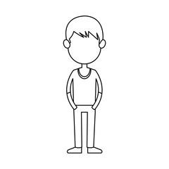cartoon young boy student avatar vector illustration