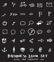 Business set sketch vector ink doodle on chalkboard eps10