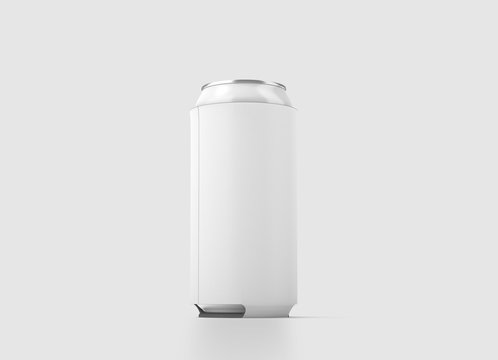 Blank white collapsible beer can koozie mock up isolated, 500 ml side view, 3d rendering. Empty neoprene cooler holder mockup tin beverage. Plain drinkware hugger design template. Clear soda sleeve