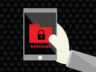 Smartphone with malware wannacry
