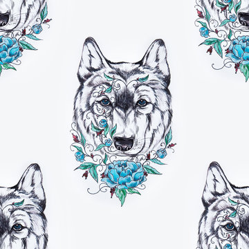 Seamless pattern of a wolf head with a flower on a white background.