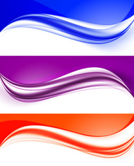 Abstract curved wavy lines set
