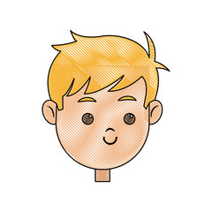 drawing head face smiling child character vector illustration