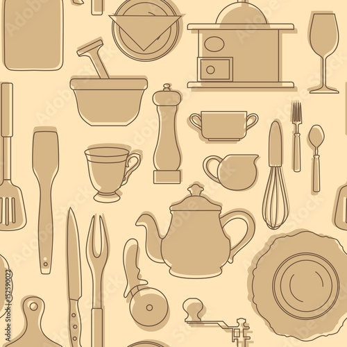 """Set Of Silhouettes Of Kitchen Utensils. Vintage Style"