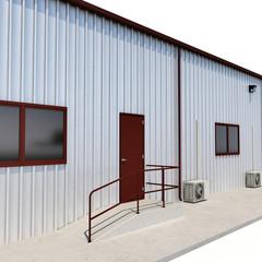 Warehouse building door on white. 3D illustration
