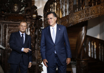 U.S. Republican Presidential candidate Romney meets with Poland's PM Tusk at the Old Town Hall in Gdansk