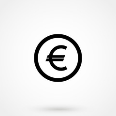Euro Icon Vector Symbol Sign Coin black white Money