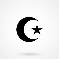 Star and crescent icon on white background. Vector illustration. Symbol of Islam.
