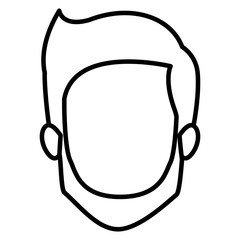 monochrome contour of faceless young man with short hair and beard and without moustache vector illustration