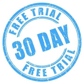 30 days free trial ink round stamp