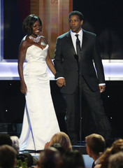 Viola Davis and Denzel Washington introduce a segment during the 23rd Screen Actors Guild Awards in Los Angeles