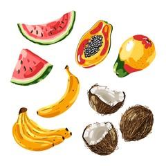 Set of exotic fruit. Vector illustration
