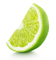 Ripe slice of green lime citrus fruit stand isolated on white background with clipping path