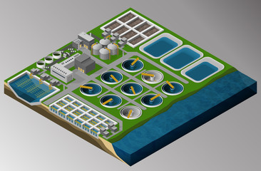 Vector isometric illustration of the wastewater treatment plant consisting of sedimentation basins, fermenters, bioreactors. Equipment for the protection of the environment.