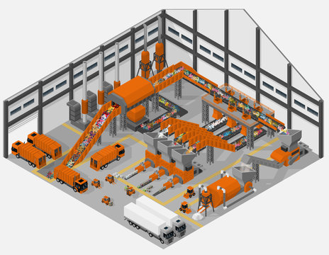 Vector isometric illustration of interior of waste processing plant. Saving the environment.