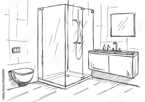 Hand Drawn Sketch Linear Sketch Of An Interior Part Of