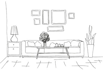 Linear sketch of an interior. Room plan. Vector illustration. Linear sketch of the interior.