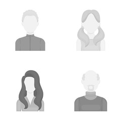 Boy blond, bald man, girl with tails, woman.Avatar set collection icons in monochrome style vector symbol stock illustration web.