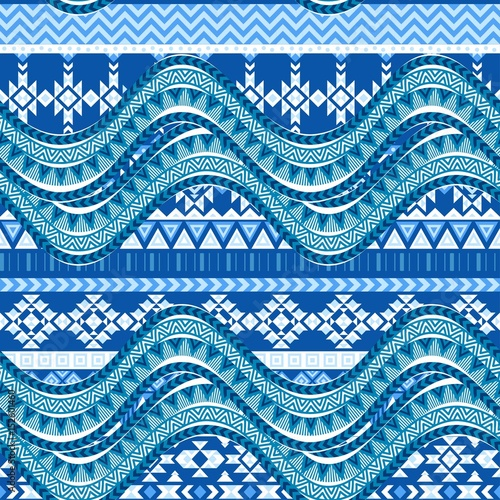 "Blue Tribal Wallpapers: ""Sea Wave Background. Ethnic Seamless Pattern Ornament"