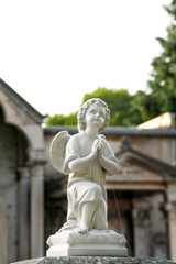 Statues marble of child angel. Tombstones in cemetery. Old cemetery with tombstones. Sculpture Art.