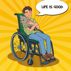 Disability Person. Smiling Boy Sitting in Wheelchair. Pop Art vector illustration