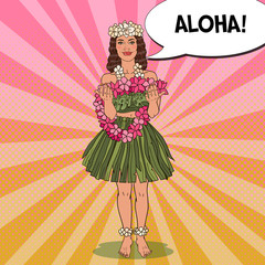 Beautiful Hawaiian Girl with Traditional Tropical Flower Necklace. Pop Art vector illustration