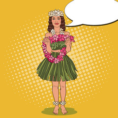 Hawaiian Girl with Traditional Tropical Flower Necklace. Pop Art vector illustration