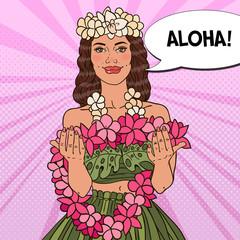 Beautiful Hawaiian Girl with Tropical Flower Necklace. Pop Art vector illustration