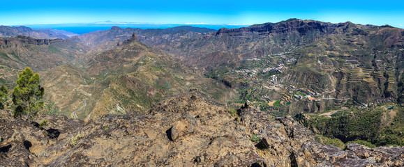 Panoramic view of the Tejeda valley in Gran Canaria, Spain.