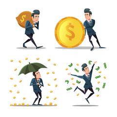 Successful Businessman with Money Rain. Rich Man. Vector cartoon illustration