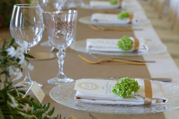 Fototapeta close up of The elegant dinner table