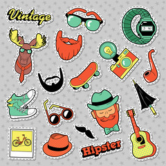 Hipster Vintage Fashion Stickers, Patches, Badges with Beards, Mustache and Deer. Vector Doodle