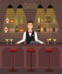 Bar, pub interior flat vector illustration with bottles, glasses, cocktails. Man bartender at the bar with wine, alcohole dreenks.