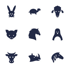 Set Of 9 Beast Icons Set.Collection Of Hog, Tortoise, Rhinoceros And Other Elements.