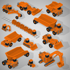 Vector isometric illustration of a set of heavy-duty trucks, mining excavators, articulated backhoe excavator, dumpers, grader, mining train. Equipment for high-mining industry.