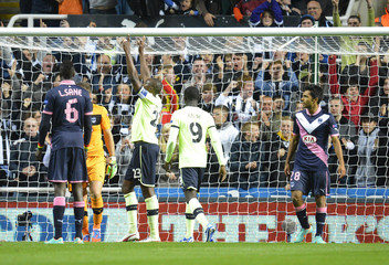 Newcastle's Shola Ameobi celebrates his goal against Bordeaux during their Europa League Group D soccer match in Newcastle