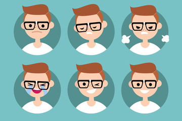 Nerd boy profile pics / Set of flat vector portraits. upset, offended, angry, laugh, laughing, winking, smiling
