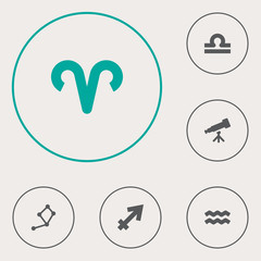 Set Of 6 Horoscope Icons Set.Collection Of Water Bearer, Scales, Binoculars And Other Elements.