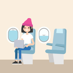 Cute teenage girl sitting on the plane / editable flat vector illustration