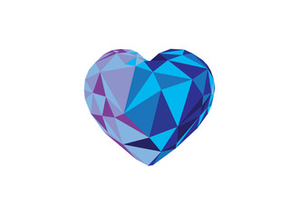 Low poly blue crystal bright hearts.