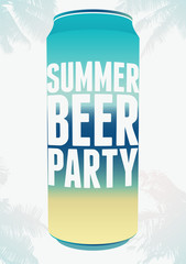 Summer Beer Party typography vintage poster. Retro vector illustration.