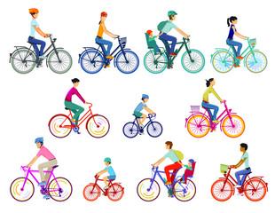 Radfahrergruppe illustration, isoliert