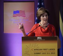 Former U.S. First lady Bush speaks at the African First Ladies Summit in Dar Es Salaam