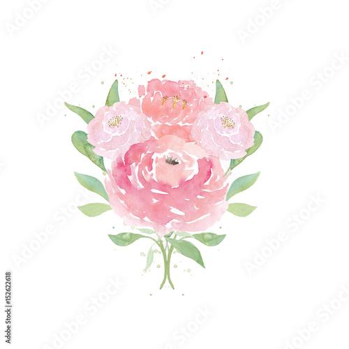 "Wedding Tree Watercolor Clipart: ""Watercolor Wedding Flowers. Watercolor Peonies And Leaves"