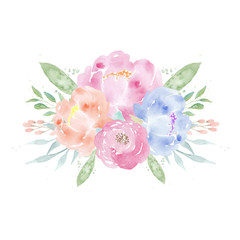 Watercolor wedding flowers. Watercolor peonies and leaves. Floral arrangement. Wedding clipart