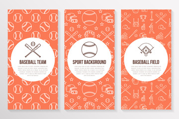 Baseball, softball sport game brochure template, flyer. Vector trifold orange background. Equipment thin line icons - bats, balls, field. Illustration for team poster.