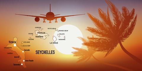 Seychelles - île - tourisme - carte - avion - destination - voyage - archipel